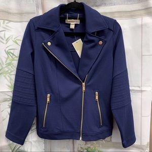 🌸BOGO NEW Michael Kors Navy Fabric Moto Jacket